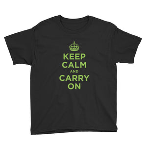 Black / XS Keep Calm and Carry On (Green) Youth Short Sleeve T-Shirt by Design Express