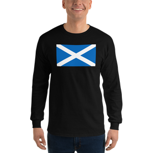 "Black / S Scotland Flag ""Solo"" Long Sleeve T-Shirt by Design Express"