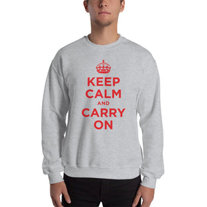 Sport Grey / S Keep Calm and Carry On (Red) Unisex Sweatshirt by Design Express