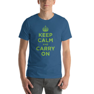 Steel Blue / S Keep Calm and Carry On (Green) Short-Sleeve Unisex T-Shirt by Design Express