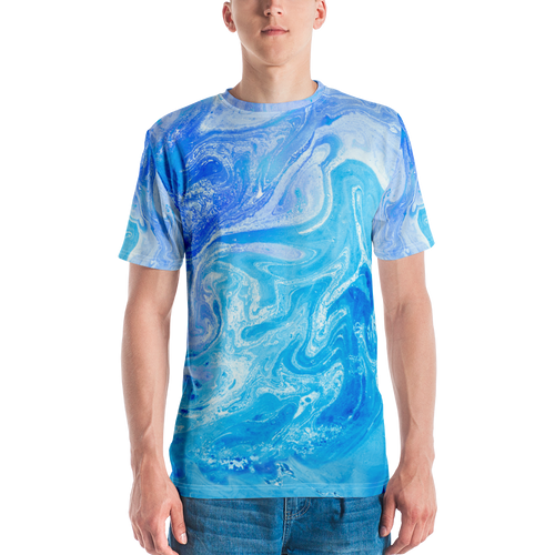 XS Blue Watercolor Marble Men's T-shirt by Design Express