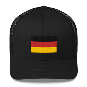 Black Germany Flag Embroidered Trucker Cap by Design Express