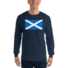 "Navy / S Scotland Flag ""Solo"" Long Sleeve T-Shirt by Design Express"
