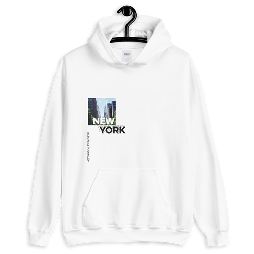 S New York Coordinates Unisex White Hoodie by Design Express