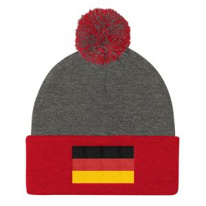 Dark Heather Grey/ Red Germany Flag Pom Pom Knit Cap by Design Express