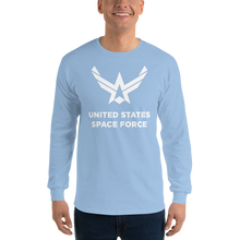 "Light Blue / S United States Space Force ""Reverse"" Long Sleeve T-Shirt by Design Express"