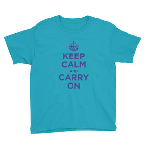 Caribbean Blue / XS Keep Calm and Carry On (Navy Blue) Youth Short Sleeve T-Shirt by Design Express