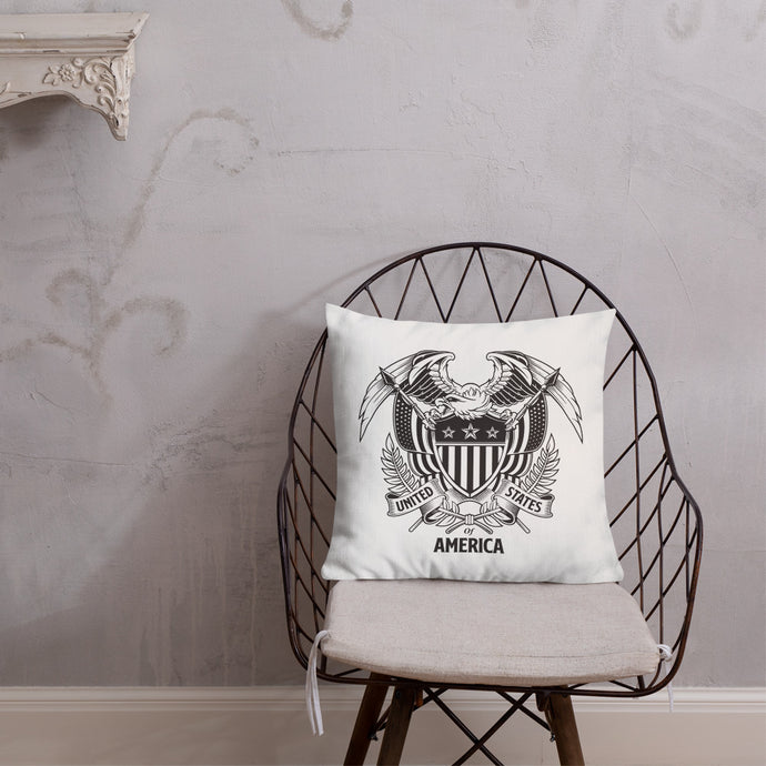 United States Of America Eagle Illustration Premium Pillow