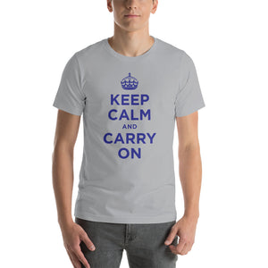 Silver / S Keep Calm and Carry On (Navy Blue) Short-Sleeve Unisex T-Shirt by Design Express