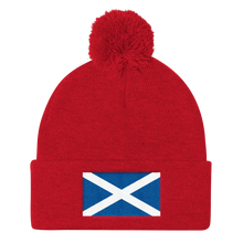 "Red Scotland Flag ""Solo"" Pom Pom Knit Cap by Design Express"