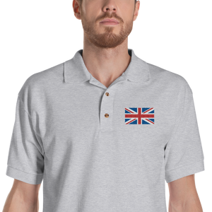 "Sport Grey / S United Kingdom Flag ""Solo"" Embroidered Polo Shirt by Design Express"