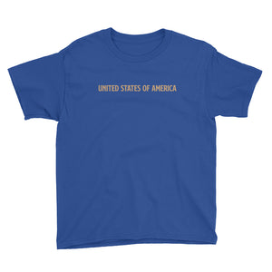 Royal Blue / XS United States Of America Eagle Illustration Reverse Gold Backside Youth Short Sleeve T-Shirt by Design Express