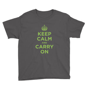 Charcoal / XS Keep Calm and Carry On (Green) Youth Short Sleeve T-Shirt by Design Express