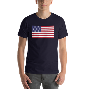 "Navy / S United States Flag ""Solo"" Short-Sleeve Unisex T-Shirt by Design Express"