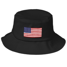 "Black United States Flag ""Solo"" Old School Bucket Hat by Design Express"
