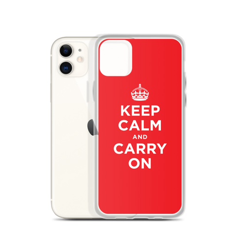 Red Keep Calm and Carry On iPhone Case iPhone Cases by Design Express