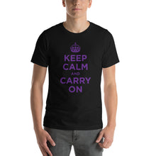 Black / XS Keep Calm and Carry On (Purple) Short-Sleeve Unisex T-Shirt by Design Express