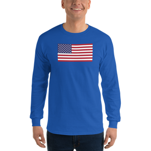 "Royal / S United States Flag ""Solo"" Long Sleeve T-Shirt by Design Express"