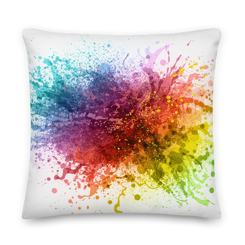 22×22 Rainbow Paint Splash Premium Pillow by Design Express
