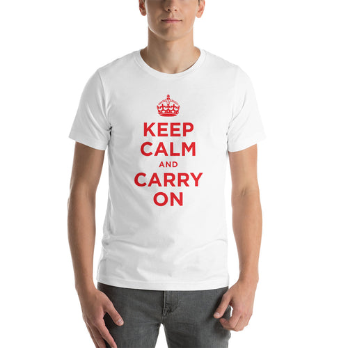 White / XS Keep Calm and Carry On (Red) Short-Sleeve Unisex T-Shirt by Design Express