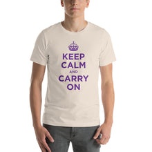 Soft Cream / S Keep Calm and Carry On (Purple) Short-Sleeve Unisex T-Shirt by Design Express