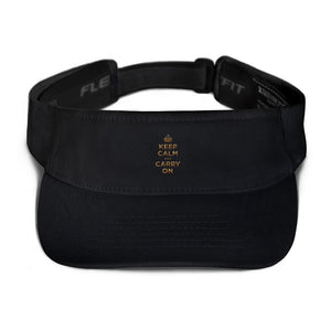 Black Keep Calm and Carry On (Gold) Visor by Design Express