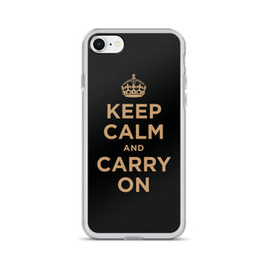 iPhone 7/8 Keep Calm and Carry On (Black Gold) iPhone Case iPhone Cases by Design Express