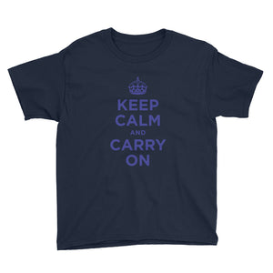 Navy / XS Keep Calm and Carry On (Navy Blue) Youth Short Sleeve T-Shirt by Design Express