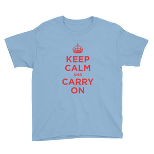 Light Blue / XS Keep Calm and Carry On (Red) Youth Short Sleeve T-Shirt by Design Express