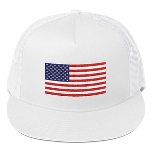 "White United States Flag ""Solo"" Trucker Cap by Design Express"