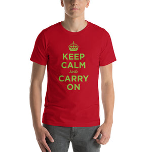 Red / S Keep Calm and Carry On (Green) Short-Sleeve Unisex T-Shirt by Design Express