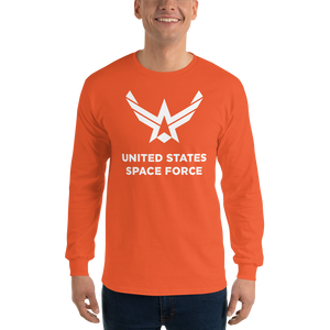 "Orange / S United States Space Force ""Reverse"" Long Sleeve T-Shirt by Design Express"