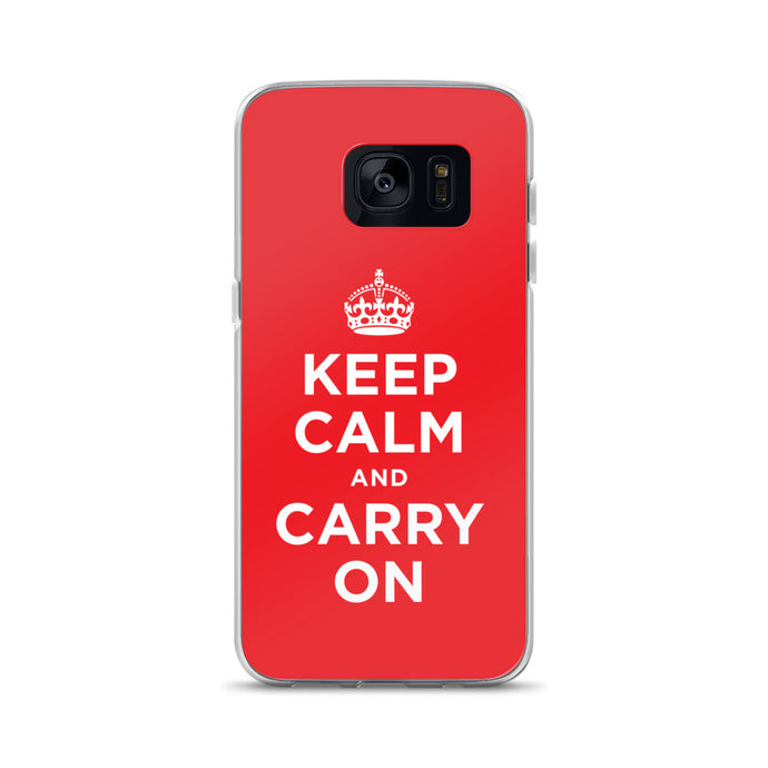 Keep Calm and Carry On (Red White) Samsung Case