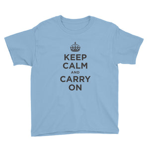 Light Blue / XS Keep Calm and Carry On (Black) Youth Short Sleeve T-Shirt by Design Express