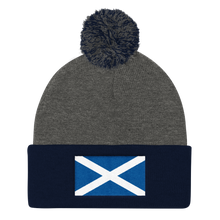 "Dark Heather Grey/ Navy Scotland Flag ""Solo"" Pom Pom Knit Cap by Design Express"