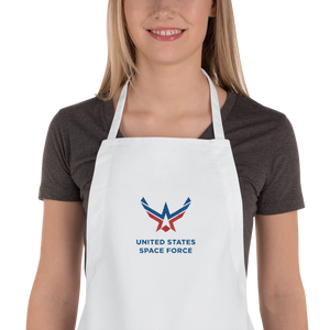 White United States Space Force Embroidered Apron by Design Express