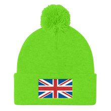 "Neon Green United Kingdom Flag ""Solo"" Pom Pom Knit Cap by Design Express"