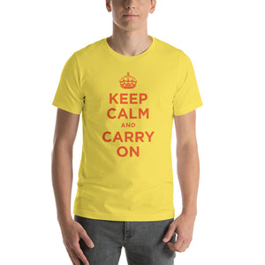 Yellow / S Keep Calm and Carry On (Orange) Short-Sleeve Unisex T-Shirt by Design Express