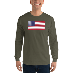 "Military Green / S United States Flag ""Solo"" Long Sleeve T-Shirt by Design Express"