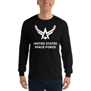 "Black / S United States Space Force ""Reverse"" Long Sleeve T-Shirt by Design Express"