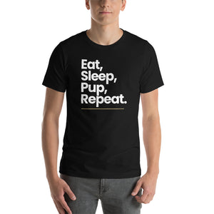 "XS Eat Sleep Pup Repeat ""Poppins"" Short-Sleeve Unisex T-Shirt by Design Express"