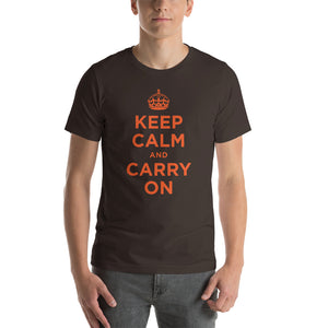 Brown / S Keep Calm and Carry On (Orange) Short-Sleeve Unisex T-Shirt by Design Express