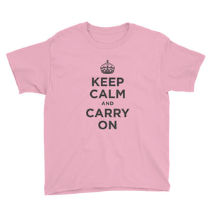 CharityPink / XS Keep Calm and Carry On (Black) Youth Short Sleeve T-Shirt by Design Express