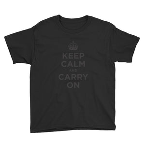 Black / XS Keep Calm and Carry On (Black) Youth Short Sleeve T-Shirt by Design Express