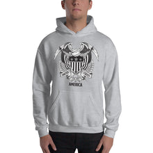 Sport Grey / S United States Of America Eagle Illustration Hooded Sweatshirt by Design Express