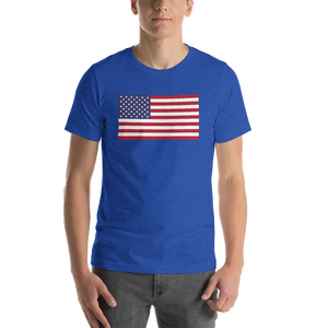 "Heather True Royal / S United States Flag ""Solo"" Short-Sleeve Unisex T-Shirt by Design Express"