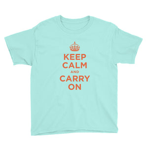 Teal Ice / S Keep Calm and Carry On (Orange) Youth Short Sleeve T-Shirt by Design Express