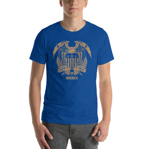 True Royal / S United States Of America Eagle Illustration Gold Reverse Short-Sleeve Unisex T-Shirt by Design Express