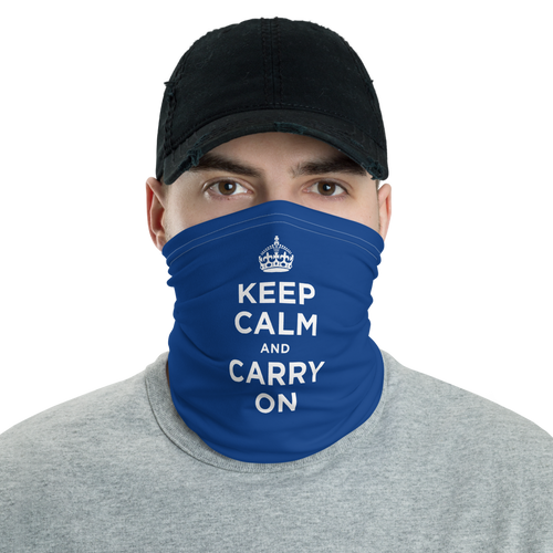 Default Title Navy Keep Calm & Carry On Neck Gaiter Masks by Design Express