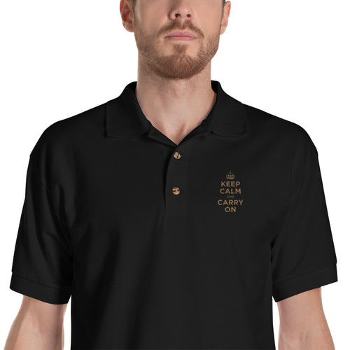 Black / S Keep Calm and Carry On (Gold Embroidered) Polo Shirt by Design Express